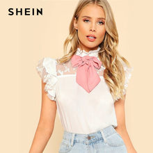 70ce424258 SHEIN White Tie Neck Embroidered Mesh Yoke Bowknot Cute Blouse 2019 Summer  Ruffled Neck Short Sleeve Ladies Tops Lolita Blouses