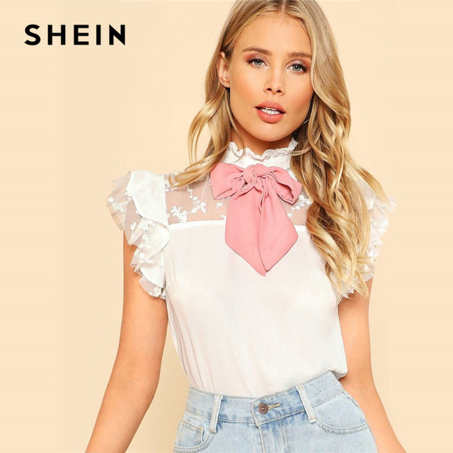 SHEIN White Tie Neck Embroidered Mesh Yoke Bowknot Cute Blouse 2019 Summer Ruffled Neck Short Sleeve Ladies Tops Lolita Blouses
