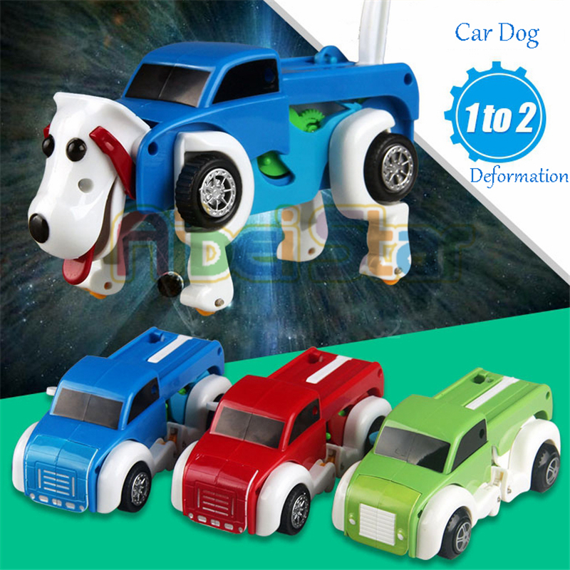Aibei Star: 2018 14CM Cool Automatisk Clockwork Vehicle Transform Car Dog Deformation Wind Up Toy Sød til børn Kids Boy Girl