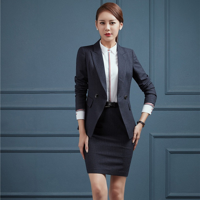 271716088b Plus Size 4XL Autumn Winter Formal OL Styles Professional Blazer Suits With  Jackets And Skirt Ladies Blazers Work Wear Outfits