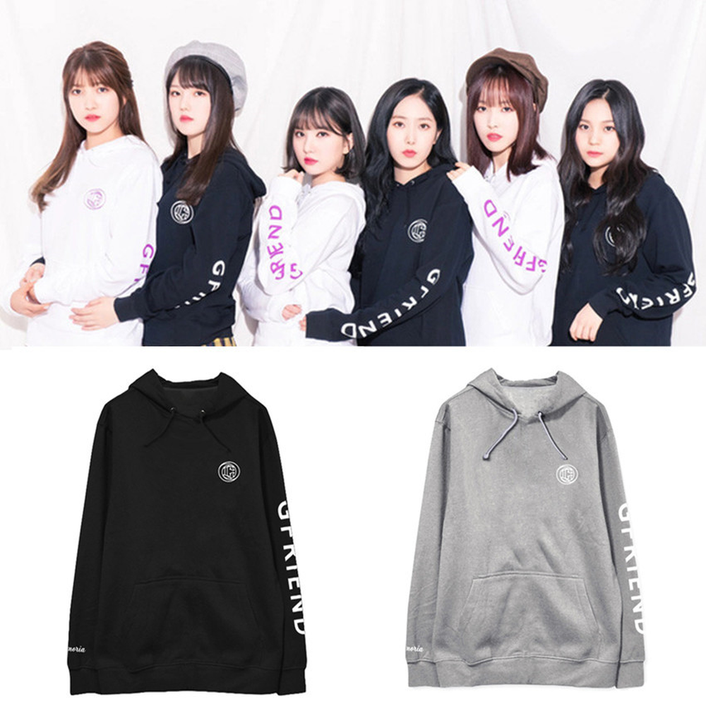GFRIEND KPOP 2019 Autumn Winter Hoodie Sweatshirt Coat Men Women Cotton Fleece Korean Version Black White Character Print Loose