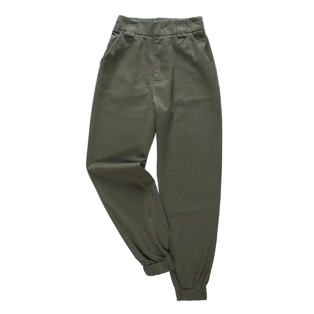 High Waist Green Black Khaki Ankle Length Pants 3