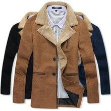 Бесплатная доставка 2014 новые зимние мужские пальто и куртки зимние длинные куртка однобортный пальто лацкан утолщение Шерсть & Смеси шерсть