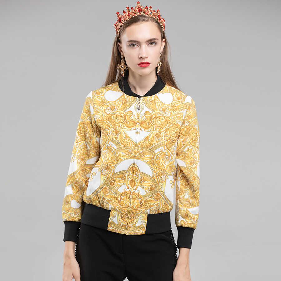 AELESEEN pas startowy w stylu Vintage krótkie kurtki 2018 jesień zima moda złoty łańcuch drukowane kurtka Bomber kobiety