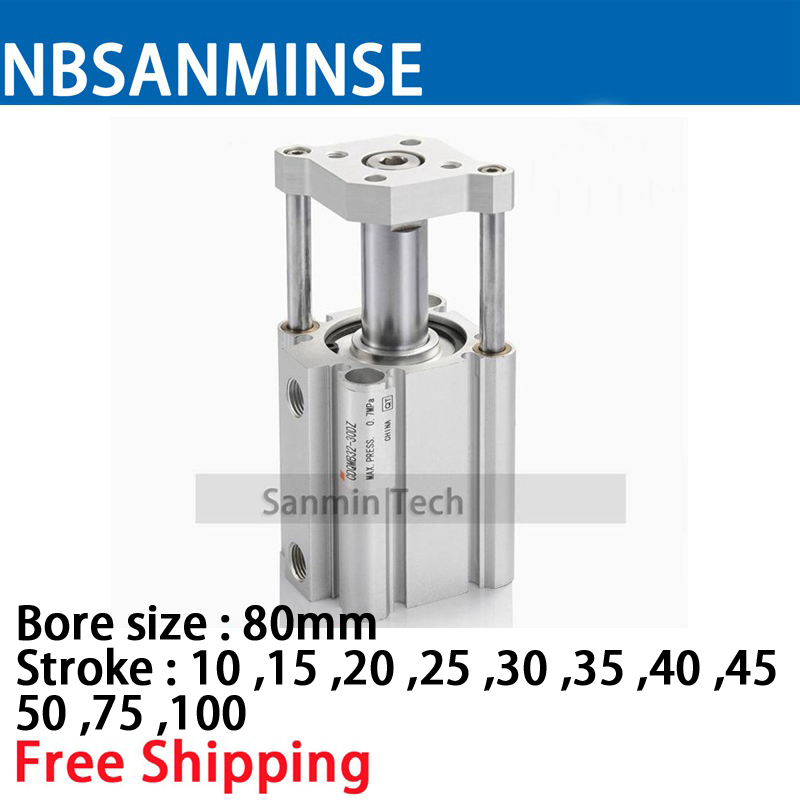 цена на CDQMB 80mm Bore Size SMC Type ISO Compact Cylinder Double Acting Single Rod CGuide Rod Type Compressed Air Cylinder Sanmin