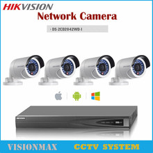 Hikvision CCTV 4CH 4POE NVR 4MP IR IP POE Outdoor WDR Camera DS-2CD2042WD-I Alarm Audio Surveillance Security Camera System