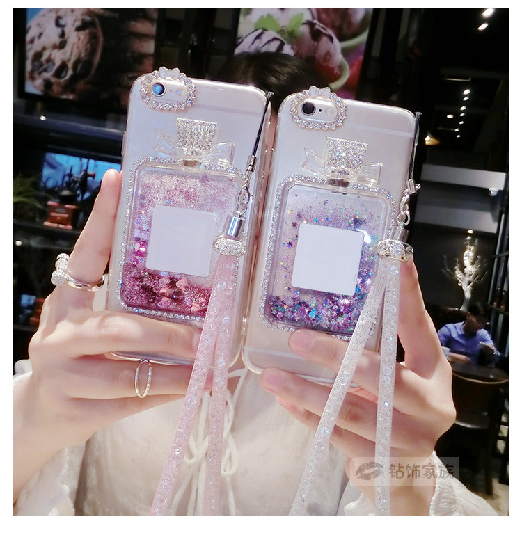 Case For iPhone 5S SE 5 6 6S 6 plus 6S Plus luxury perfume bottle Quicksand Dynamic Liquid Sand Silicone With Chain