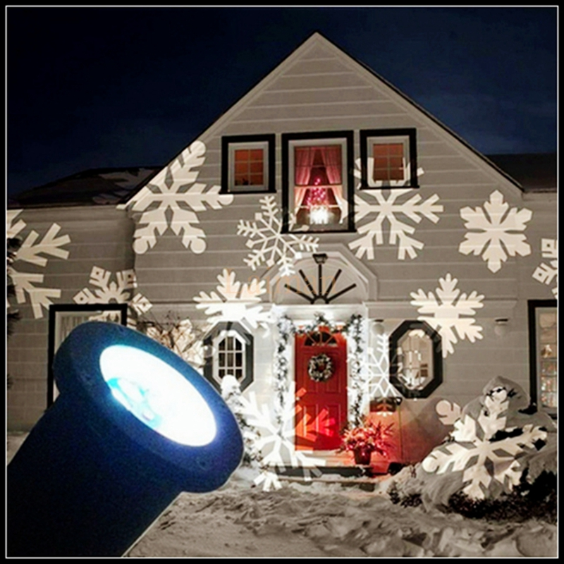 NEW Snowflakes LED Stage Light Holiday Christmas use White Snow Sparkling Landscape Projector Lawn Garden Wall OutdoorDecoration christmas elk snowflakes printed wall stickers