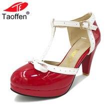445c533be0 Tamanho 32-48 TAOFFEN Mulheres Sandálias de Salto Quadrado Dedo Do Pé  Redondo Sapatos de