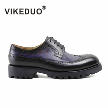 VIKEDUO Brand 2017 Newest Fashion Leisure Derby Men Shoes Hollow Breathable Comfortable Handmade Patine Man Low Heels Footwear