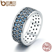BAMOER 925 Sterling Silver Stackable Ring Charming Ocean Round Cocktail Finger Rings For Women Sterling Silver