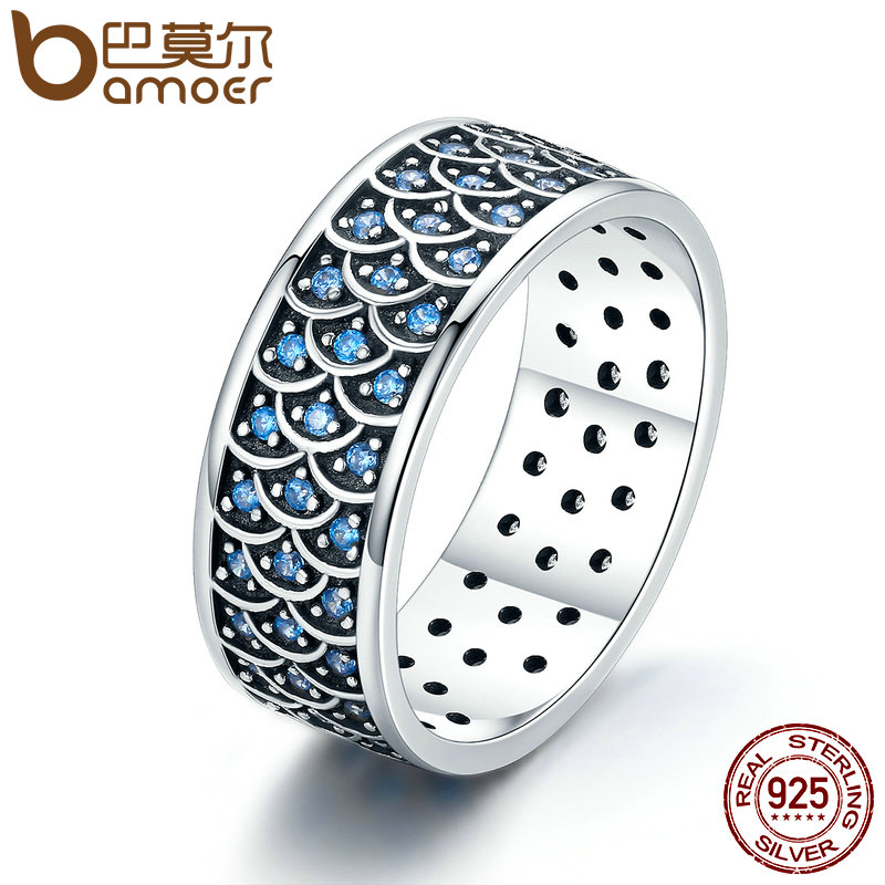 BAMOER 925 Sterling Silver Stackable Ring Charming Ocean Round Cocktail Finger Rings for Women Sterling Silver Jewelry SCR212 charming round shape rhinestone decorated ring for women