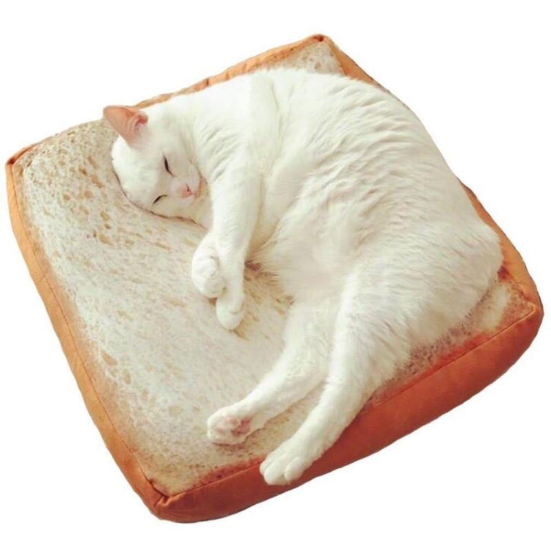 Possono Essere Ingerite Carino Fette di Pane Tostato Emulazione Creativo Peluche Cuscini di Sonno Cuscini Cuscino Pet Gatti Pane Per Il Tempo Libero