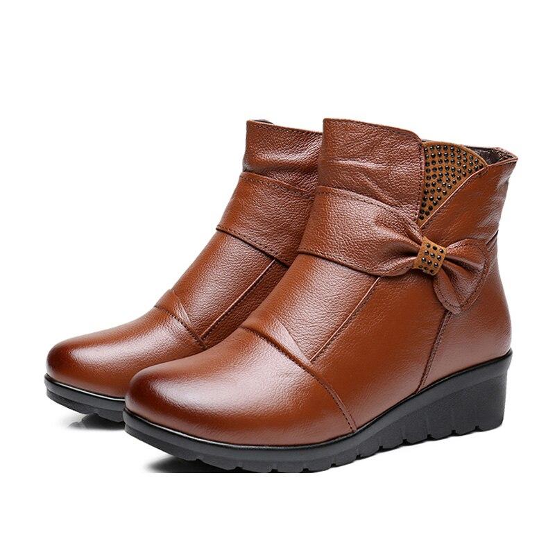 La Madre Mujer Nieve Negro Hovinge Genuino Nueva De Zapatos Caliente marrón Invierno Cuero Más Botines Ancianos Algodón Botas Tamaño Planos Tqpwa