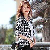 Women Clothes Summer New Plaid Small Suit Jacket Female Black Professional Dress Suit Korean Suit Thin Section Overalls Shirt