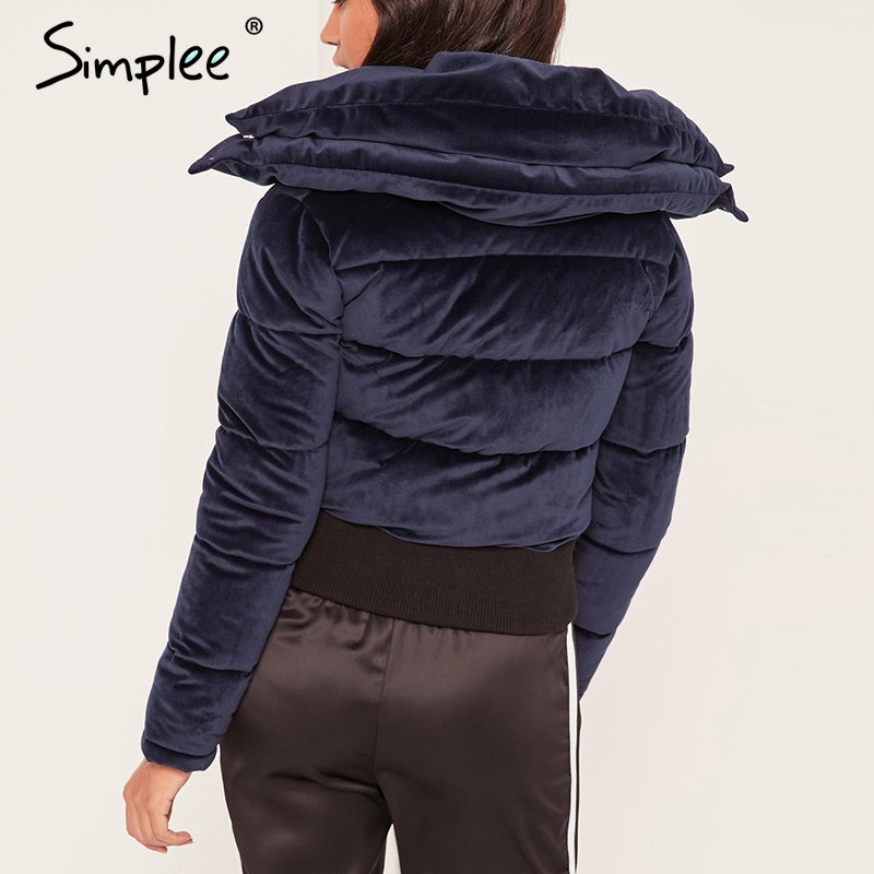 Simplee Velvet cotton padded basic jacket coat Women warm wine red   parkas jackets female 2018 autumn winter casual outerwear 1