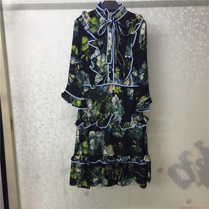 Vestito elegante per le Donne A Maniche Lunghe di Modo Dolce Vestito Lungo per la Signora 2018 Nuovo di Alta Qualità Delle Donne di Modo del Vestito
