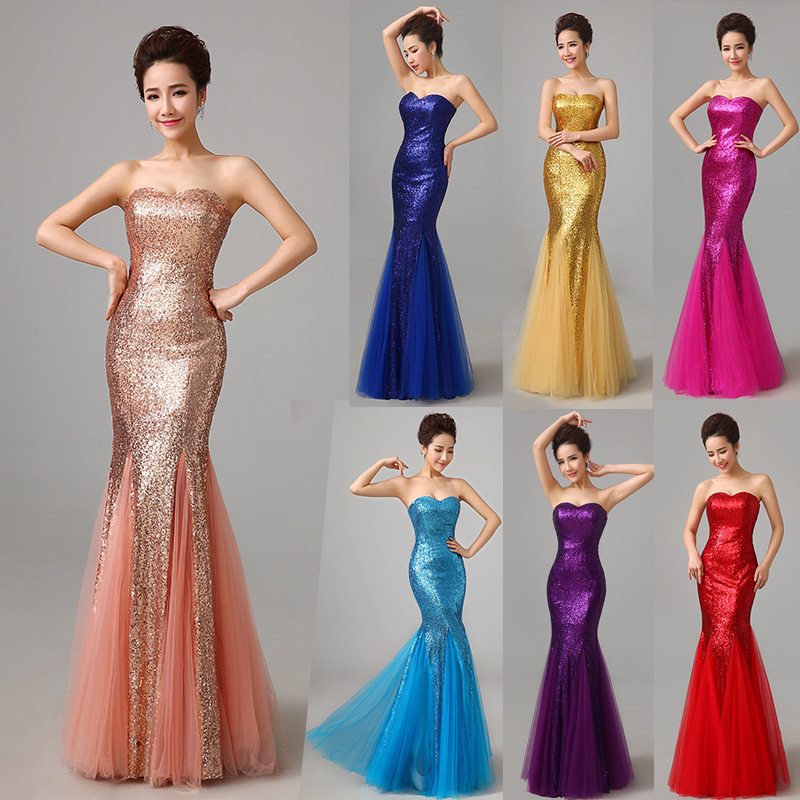 Free shipping 2015 hot Women Lace Slim Fish Tail Formal   Dress   Sexy Long Design Red   Evening     Dress   Bright Sequins Trumpet