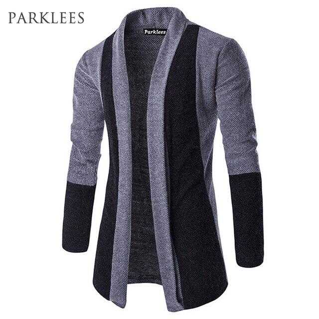 Nueva tendencia de largo cardigan sweater hombres pull Homme 2017 mens  Otoño Invierno moda slim fit 7500e6beff10