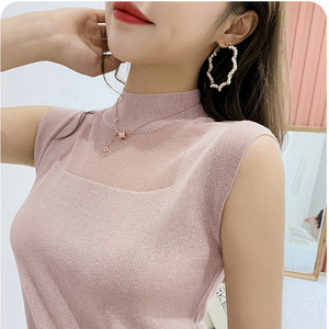 Image 1 - Half High Collar Sexy Tank Tops Women Sleeveless Knitted Vest Female Elasticity Solid Slim Pullover 2020 Summer Solid Bottoming