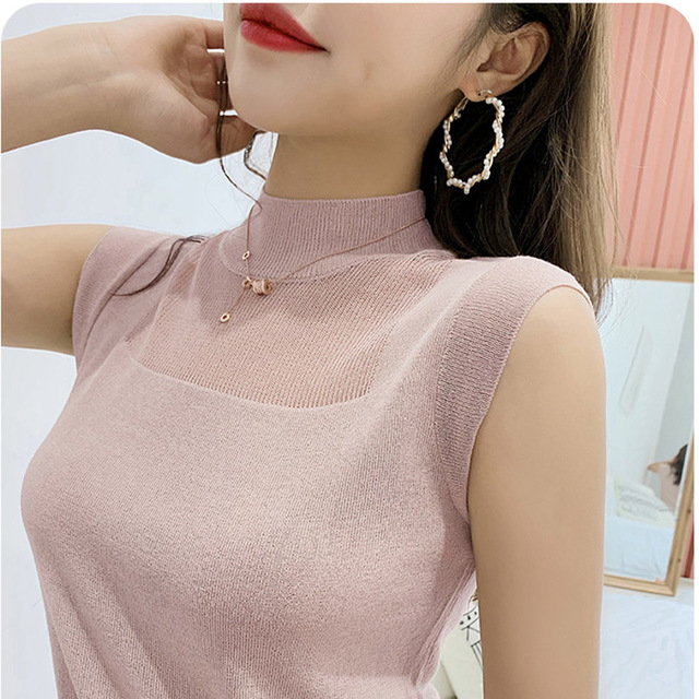 Half High Collar Sexy Tank Tops Women Sleeveless Knitted Vest Female Elasticity Solid Slim Pullover 2020 Summer Solid Bottoming
