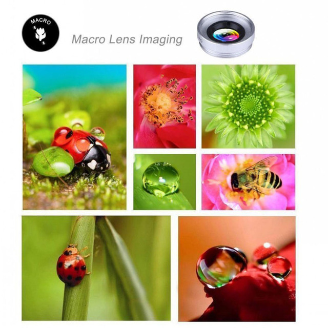 H-virtue Fisheye Lens and Wide angle and Macro Camera Lens 3 in 1 Phone Lenses for iPhone 8 7 6s