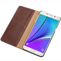 CYBORIS Genuine Luxury Leather Flip Case For Samsung Galaxy Note 5 Case Wallet Flip Cover For