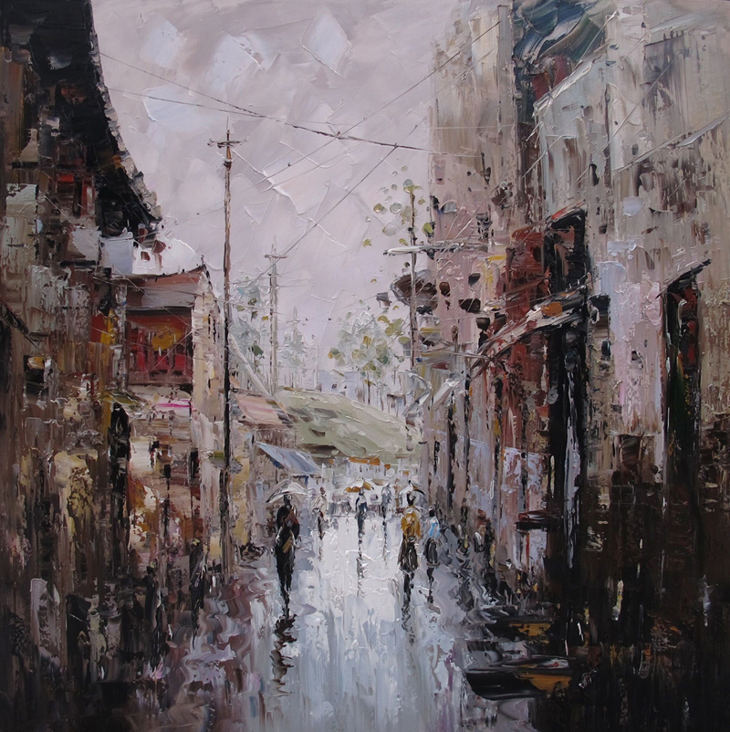 Handmade Oil Painting Old City Street Art Pictures On The