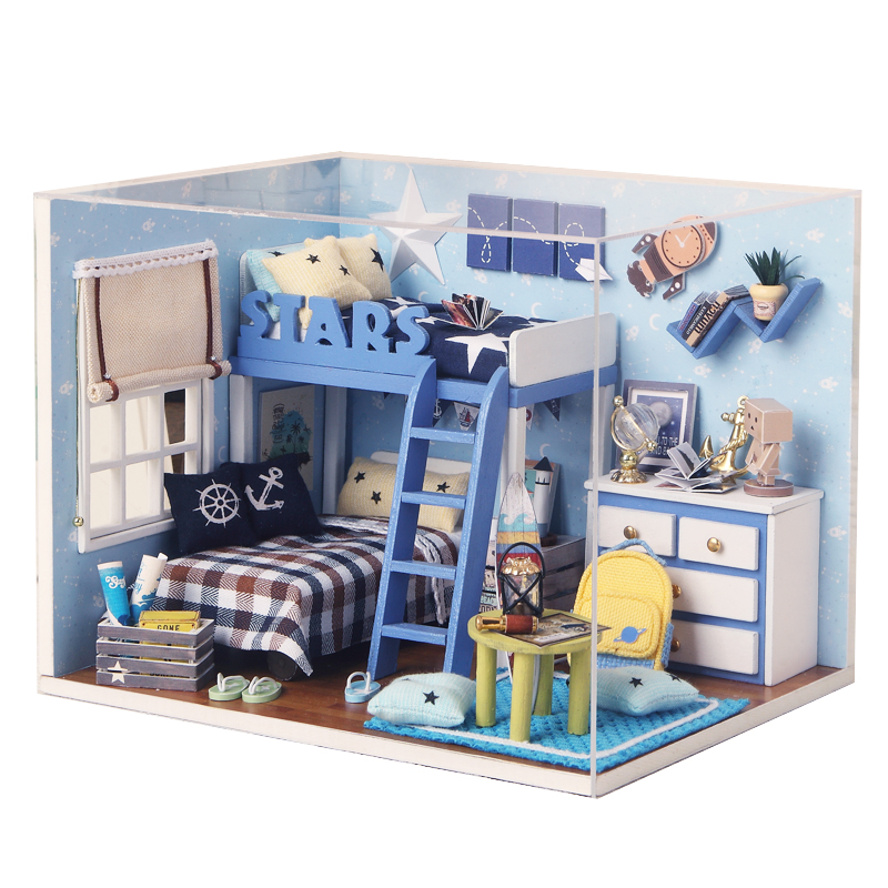 Mini casa de muñecas para niños Juguete Muebles de madera Miniatura Diy Casas de muñecas Juguetes de madera en miniatura para regalo de cumpleaños H05