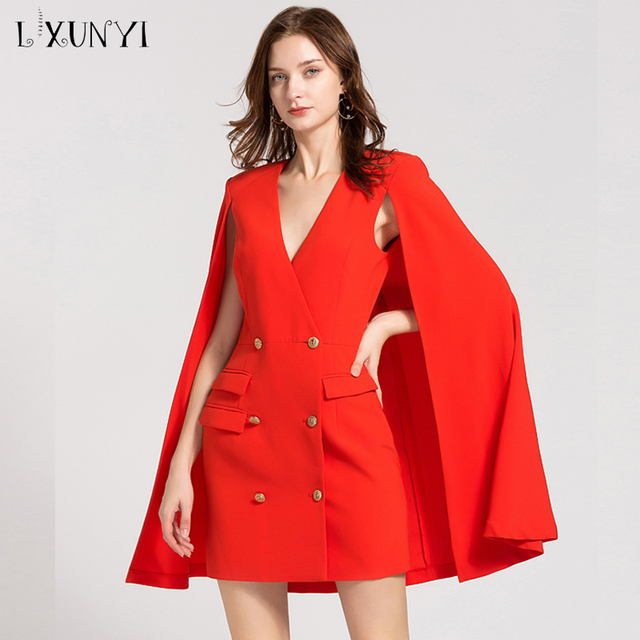 LXUNYI New Autumn Red Blazer Dress Cape V Neck Women Cloak Dress Female Formal Double Breasted Slim Office Dresses Ladies 2019