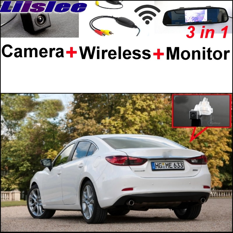 Liislee 3 in1 Special Camera + Wireless Receiver + Mirror Monitor Easy DIY Parking System For Mazda 6 Mazda6 2013~2017 wireless pager system 433 92mhz wireless restaurant table buzzer with monitor and watch receiver 3 display 42 call button