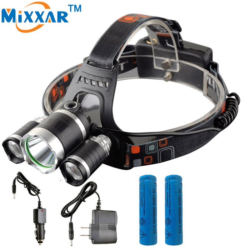 EZK20 Adjustable led Head Light Lamp Focus Zoom 13000LM T6+2*R5 Headlight Headlamp Outdoor Camping Fishing with 4 Modes Switch
