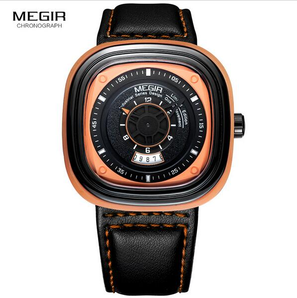 Megir Men's Black Leather Strap Square Dial Quartz Wrist Watch with Date Calendar for Men Orange Blue 2027