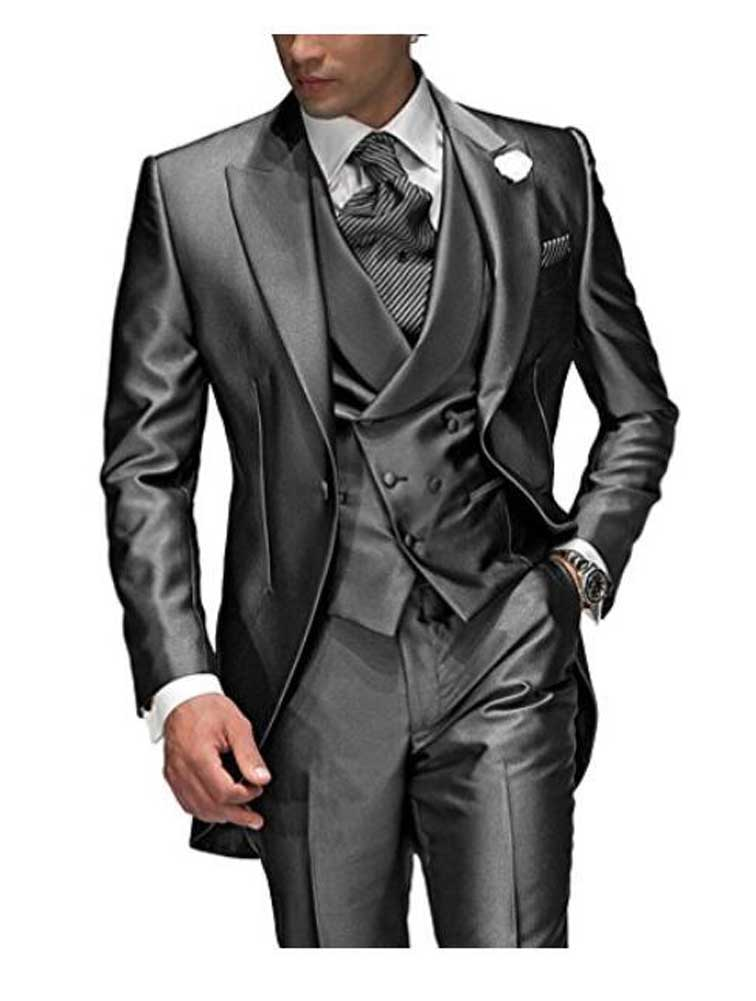 Image 4 - Charcoal Grey Mens Suit Peaked Lapel 3 Pieces 1 Button Groom 