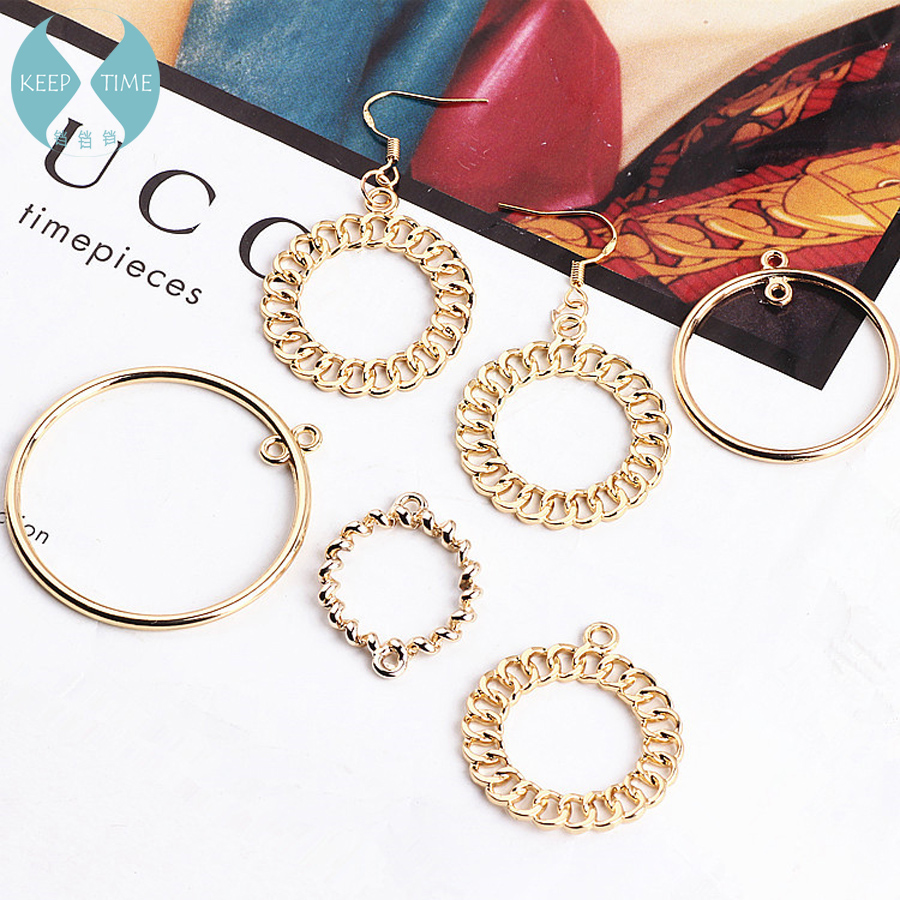 DIY Ear Ornament Accessory Alloy Simple Circle Chain Overlapping Spiral Round Earrings Earrings Material Hanging Piece