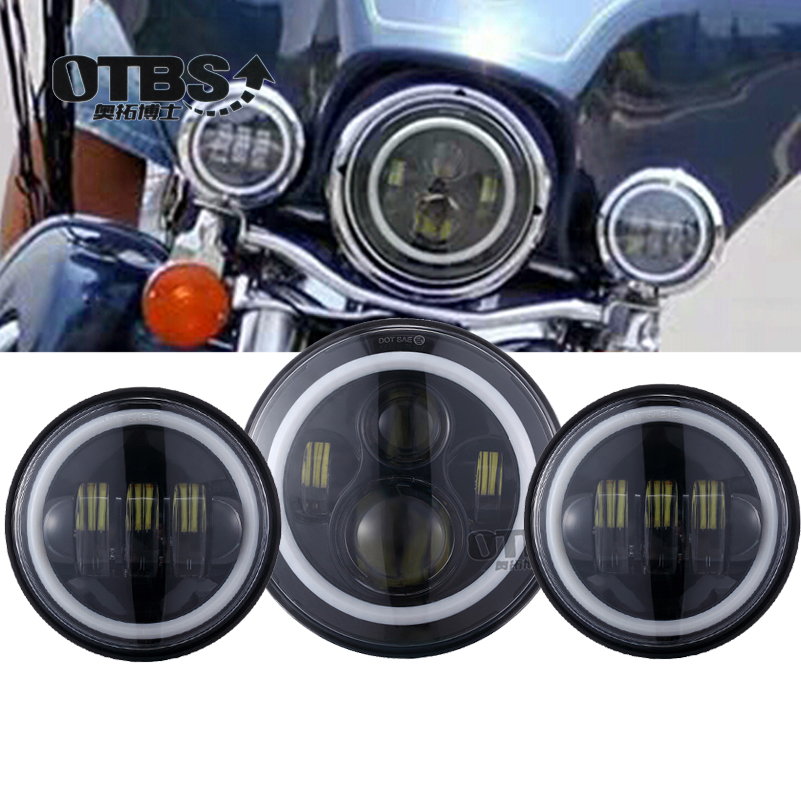 OTBS 7 inch LED Headlight 4 5 inches Fog Lights for Harley Ultra Classic Electra Glide Ultra Street Glide