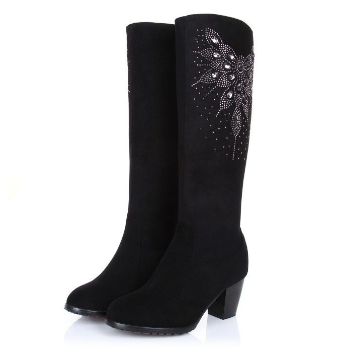 ФОТО Free shipping 2017 winter fashion genuine leather Boots for ladies thick heel high-leg women low-heeled flat Sheepskin boots