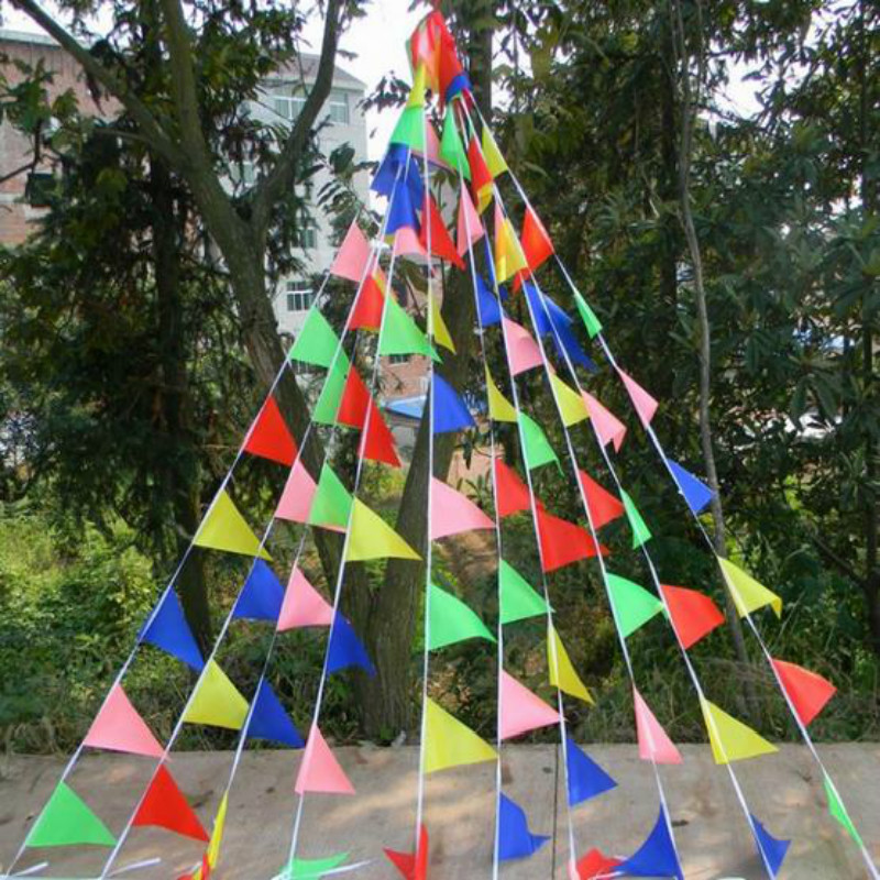 Fabric Hanging Flags Multicolour Banner Birthday Party Festival Christmas Outdoor Decor Felt Tent Crafts Wall Art In Banners Accessories