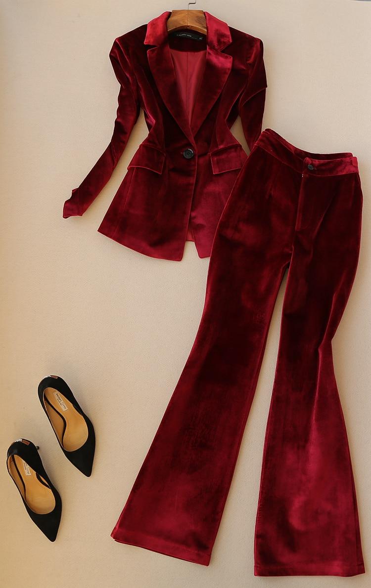 Fashion Suit Suit Female Spring New High Quality Casual Slim Velvet Suit + Trumpet Long Pants Autumn Two-piece Suit Women