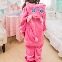 Cartoon Animal Onesie Kids Children Pajamas Pink Stitch Sleepwear Girls Winter Warm Sleepwear Party Suit Button