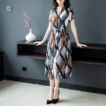#0106 Summer Plus Size 4XL Long Dresses For Women Short Sleeve V-neck Silk Dress Female Thin Slim Clothing Ladies Chinese Style