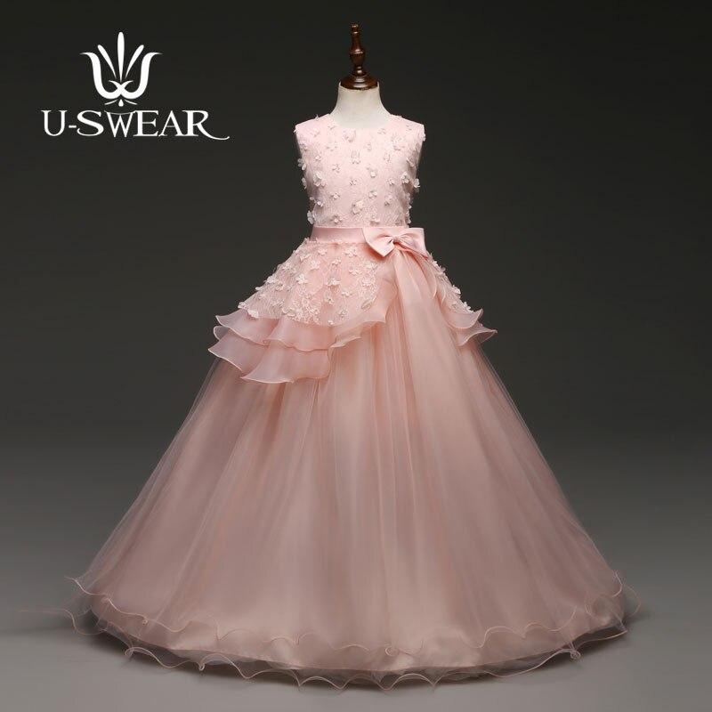 U-SWEAR 2019 New Arrival Kid   Flower     Girl     Dresses   O-neck Sleeveless   Flower   Appliqued Bow Chiffon Lace Ball Gown   Girls   Vestidos