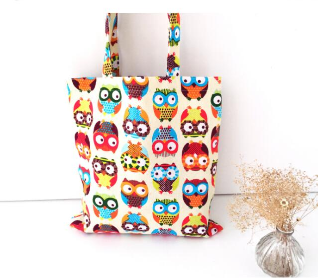 10 pieces Canvas Cartoon Printing Owl Designer Retro Women Floral Handbags High Quality Tote Shoulder Bag Shopping Bags Female in Top Handle Bags from Luggage Bags