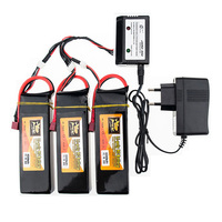 3pcs Black Lipo Battery 11.1V 4200mAh 3S 35C T Plug with Lipo Charger Set and Charging Cable for Vehicles Remote Control Toys