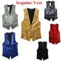 Nueva Moda Ocio Hombres Chalecos trajes delgado Lentejuelas de oro rojo negro Blanco gris azul Dj etapa envío gratis