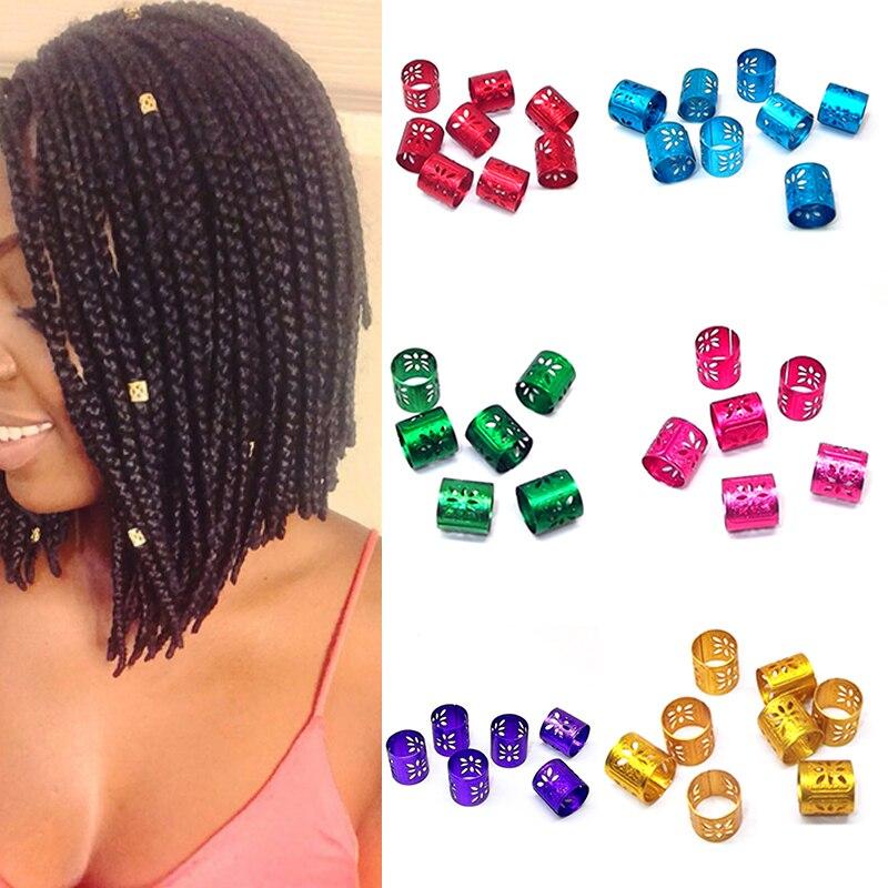 Fashion New Multicolor Floral Women Hair Braid Rings Beads Hair Extension Cuff Clips Tube Hollow Aluminium Hair Accessories