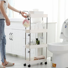 2/3/4 Layer Gap Storage Rack Kitchen Slim Slide Tower Movable Assemble Plastic Bathroom Shelf Wheels Space Saving Organizer(China)