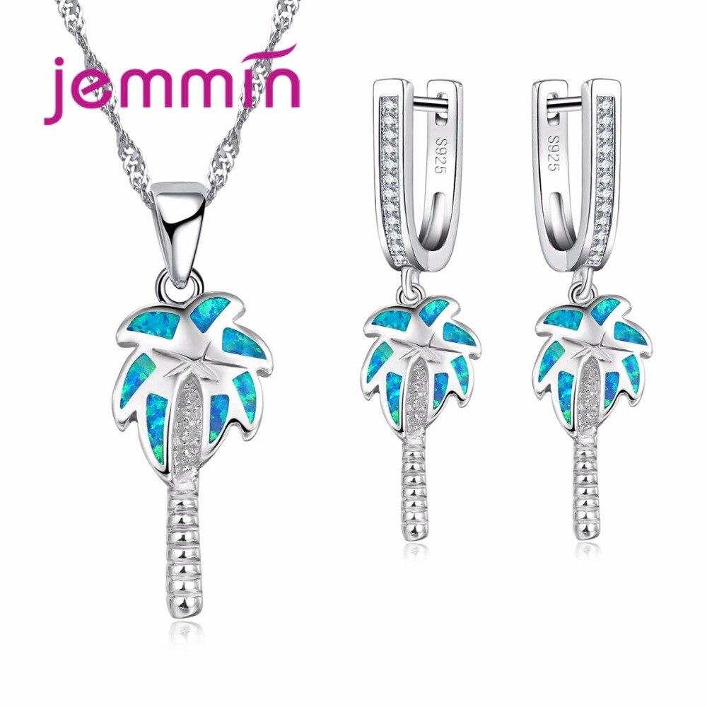 Jemmin Hot Summer Opal Jewelry Set Coconut Tree Design Neckalce & Earrings Sets for Women 925 Sterling Silver Blue Fire Opal Set coconut tree printed shirt