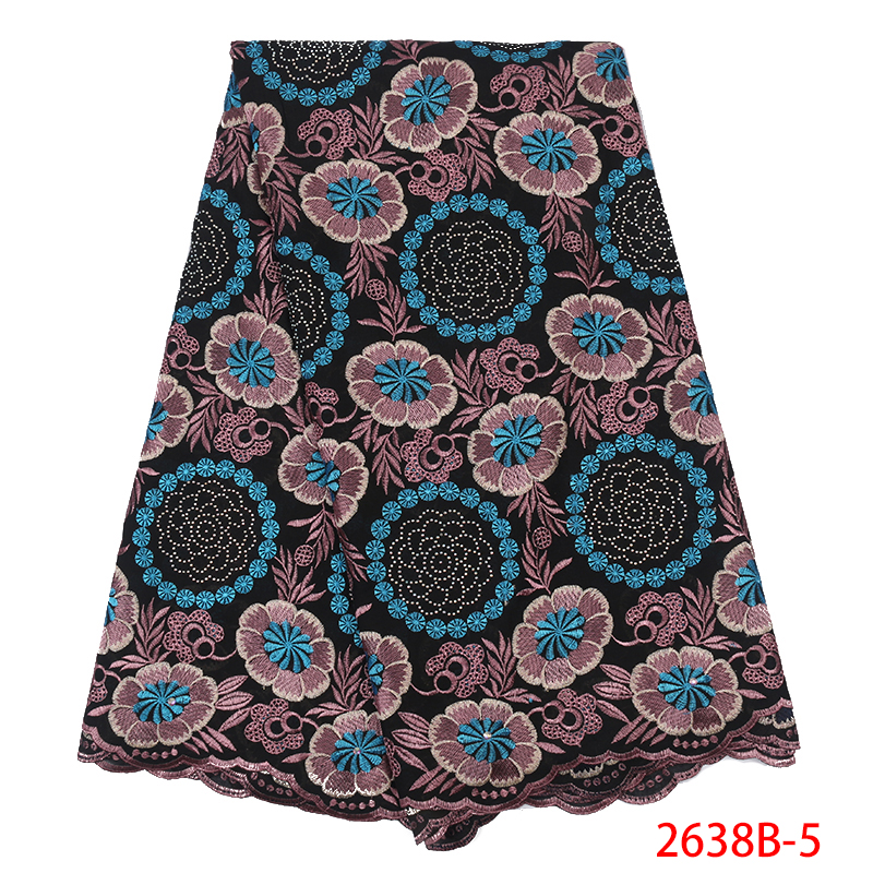 New Dry Lace Fabrics High Quality Cotton Lace Fabric 2019 Lace Materials For African Clothes KS2638B-5