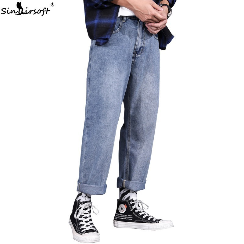 Large Size Denim Wide Leg Pants Men Loose Ankle-Length Jeans High Street Soild Skateboard Trousers Male Summer Daddy Pants New